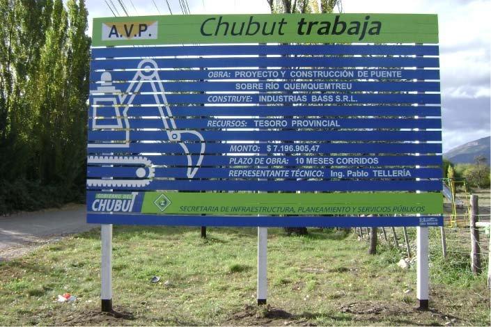 Cartel de Obra - Gobierno de la Provincia del Chubut - Lago Puelo - Provincia del Chubut - RA Carteles
