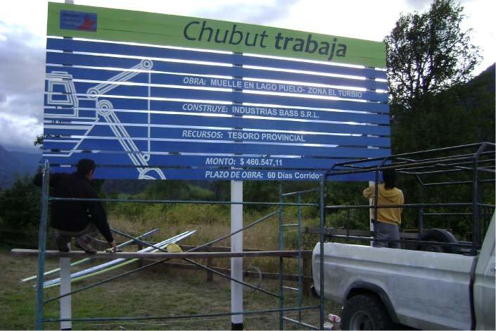 RA Trabajando - Instalación - Cartel de Obra - Lago Puelo - Provincia del Chubut - RA Carteles