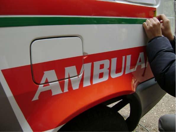 RA Trabajando - Presentando vinilos - Ambulancia - Cholila - Provincia del Chubut - RA Carteles